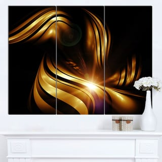 Designart 'Abstract Gold Fractal Background' Contemporary Abstract Wall Art