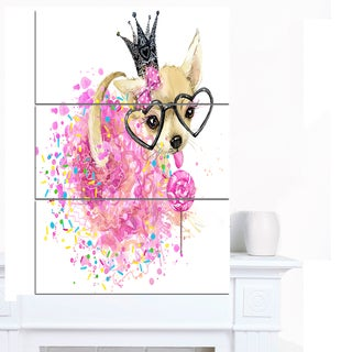 Designart 'Cute Dog with Crown and Glasses' Contemporary Animal Art Canvas