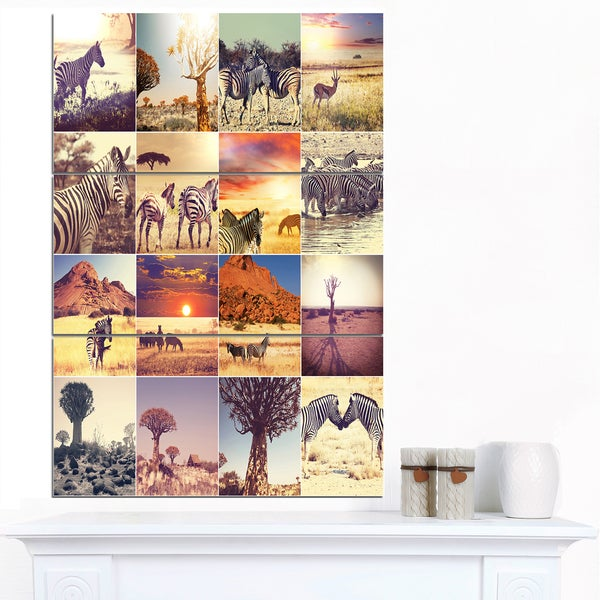 Designart 'African Wildlife and Nature Collage' African Landscape Print Wall Art