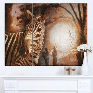 Designart 'Vintage Style African Zebra' African Wall Art Canvas Print