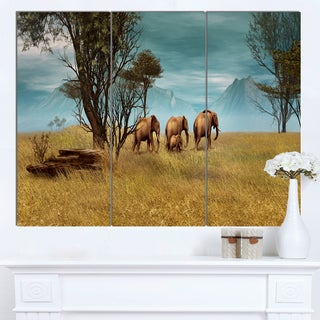 Designart 'African Elephants Panorama' African Wall Art Canvas Print