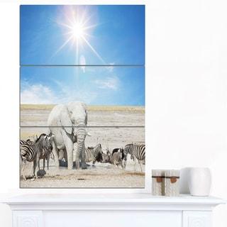Designart 'White Elephant and Herd of Zebras' Animal Wall Art Print
