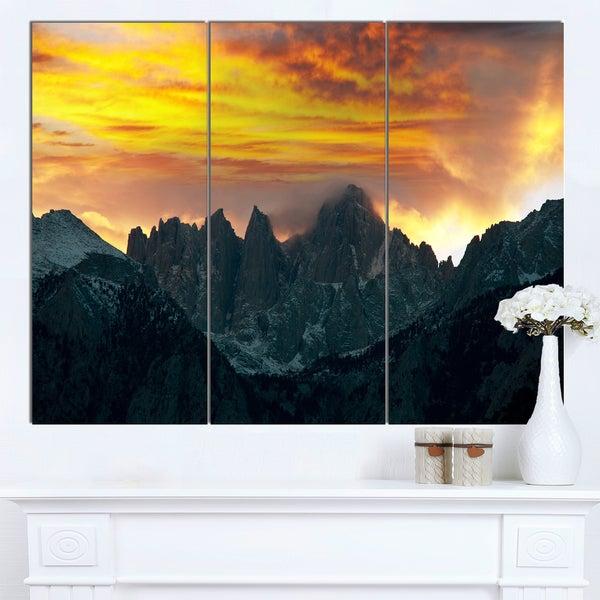 Designart 'Whitney Mountains under Cloudy Sky' Oversized Landscape Canvas Art