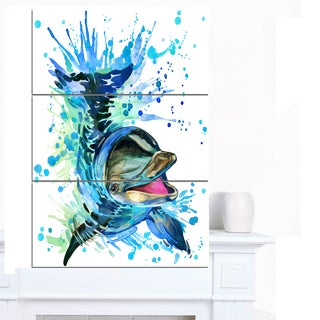 Designart 'Large Blue Dolphin Watercolor' Contemporary Animal Art Canvas