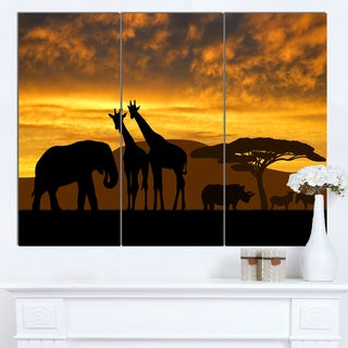 Designart 'Giraffes and Elephant and Rhino' African Wall Art Canvas Print