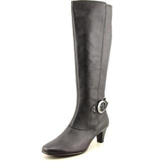 Aerosoles Women's Incredible Wide Calf Black Leather Boots