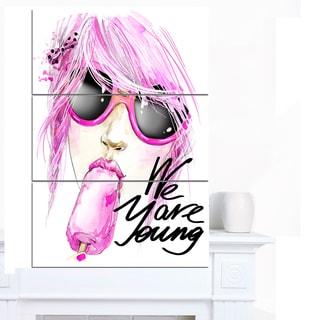 Designart 'Sexy Pink Girl Eating Lollipop' Modern Portrait Canvas Art