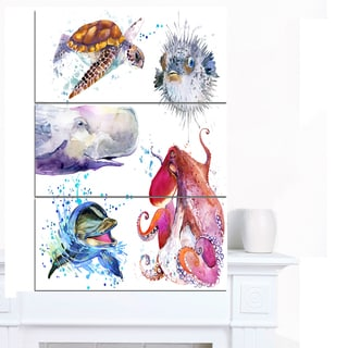 Designart 'Amazing undersea Life Collage' Contemporary Animal Art Canvas