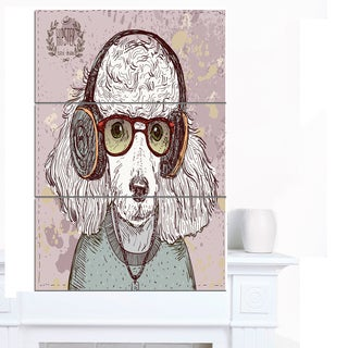 Designart 'Funny Hipster Poodle with Glasses' Contemporary Animal Art Canvas