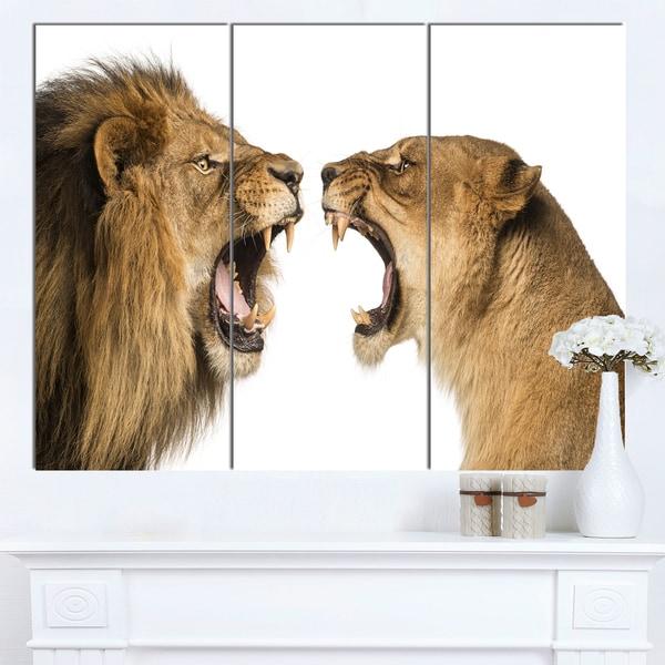 Designart 'Lion and Lioness Roaring' Animal Wall Art Print - brown
