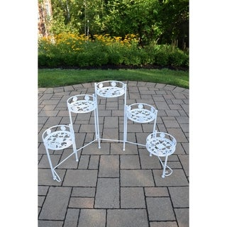 Oakland Living Corporation White Aluminum and Iron Collapsible 5-pot-holder Plant Stand
