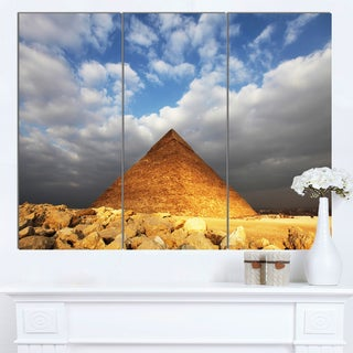 Designart 'Egyptian Pyramid under Bright Sky' Oversized African Landscape Canvas Art