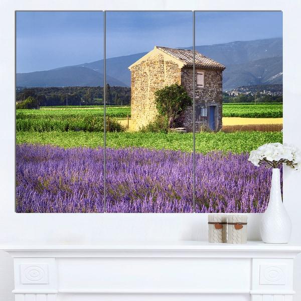 Designart 'House in the Lavender Field' Landscape Canvas Wall Art