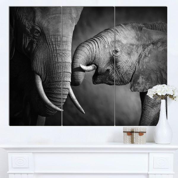 Designart 'Elephants Showing Affection' Animal Wall Art Print - Grey/Black