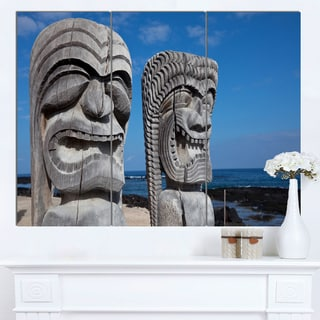 Designart 'Hawaiian Tiki Gods' Oversized Landscape Canvas Art