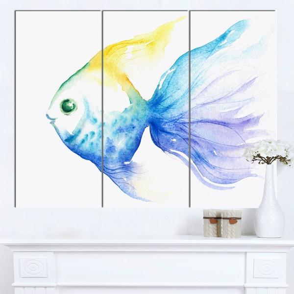 Designart 'Lovely Blue Fish Watercolor' Animal Wall Art Print