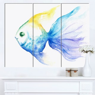 Designart 'Lovely Blue Fish Watercolor' Animal Wall Art Print
