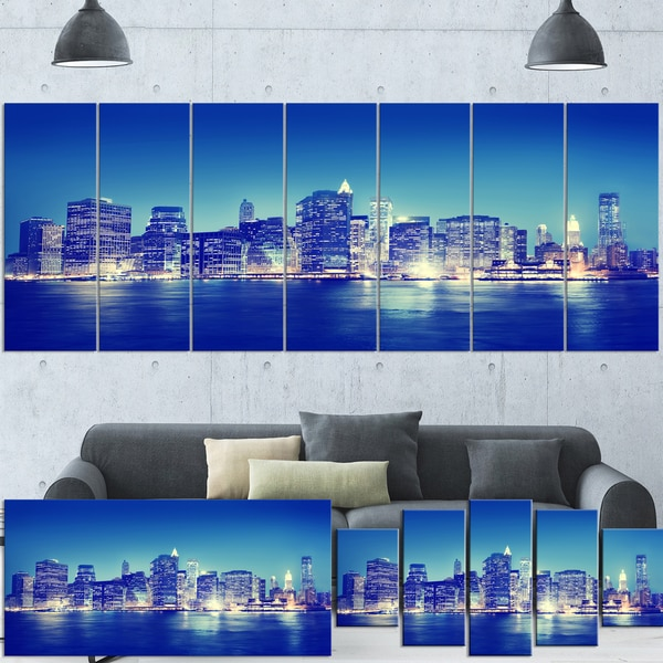 Shop Designart 'New York City Night Panorama' Extra Large