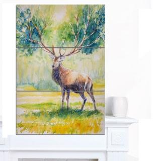 Designart 'Deer with Blue Horn' Animal Wall Art Print