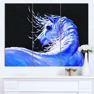 Designart 'Blue Horse Acrylic Art' Animal Wall Art Print