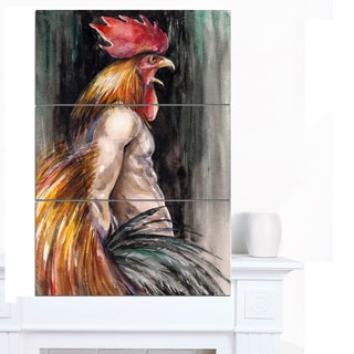 Designart 'Man with Wings and Rooster Head' Animal Wall Art Print