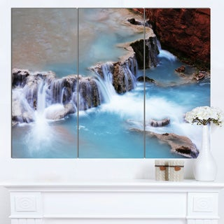 Designart 'Beautiful Blue Water Cascade' Large Seashore Canvas Print