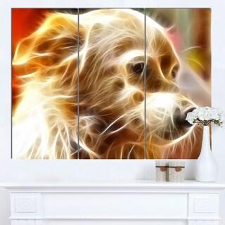 Designart 'Glowing Brown Dog Head' Large Animal Art on Canvas
