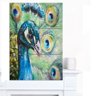 Designart 'Larger Peacock Watercolor' Animal Wall Art Print