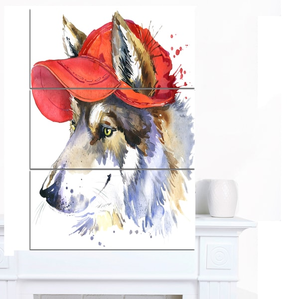 Designart 'Wolf with Red Cap Illustration' Large Animal Art on Canvas