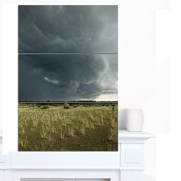 Designart 'Rainy Cloud over Green Pasture' Oversized Landscape Canvas Art