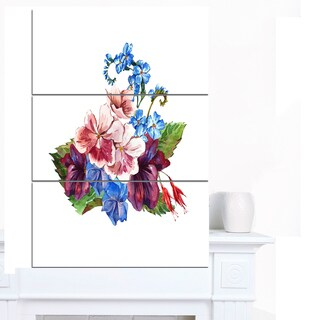 Designart 'Vintage Floral Watercolor' Floral Wall Artwork on Canvas