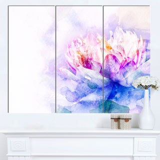 Designart 'Blue Flower Watercolor' Floral Wall Artwork on Canvas