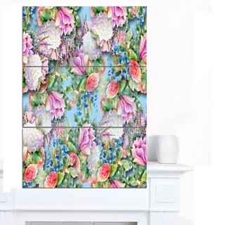 Designart 'Pink Flower Pattern on Blue' Floral Wall Artwork on Canvas