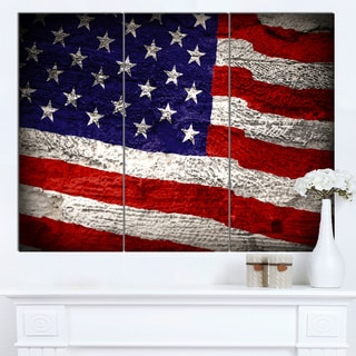 Designart 'Large American Flag Watercolor' Canvas Artwork