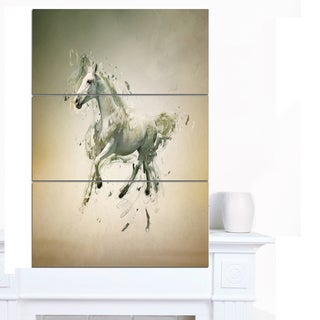Designart 'White Horse in Motion on Brown' Large Animal Art on Canvas