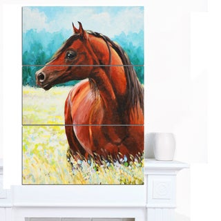 Designart 'Brown Arabian Horse Painting' Animal Wall Art Print