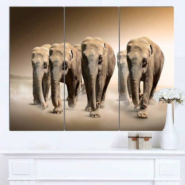 Designart 'Walking Herd of Elephants' Large Animal Art on Canvas