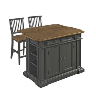 Home Styles Americana Kitchen Island with 2 Stools