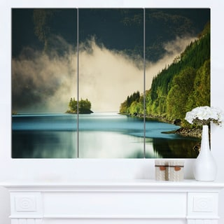 Designart 'Beautiful Lake By Green Mountains' Extra Large Landscape Canvas Art