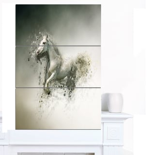 Designart 'Smart White Horse Running' Large Animal Art on Canvas