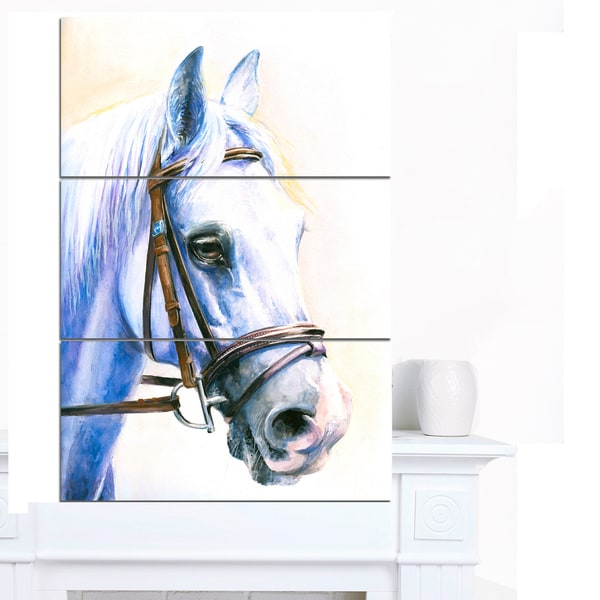 Designart 'Blue Horse with Bridle' Animal Wall Art Print