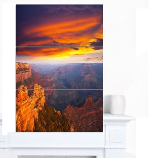 Designart 'Colorful Grand Canyon At Sunset' Extra Large Landscape Canvas Art