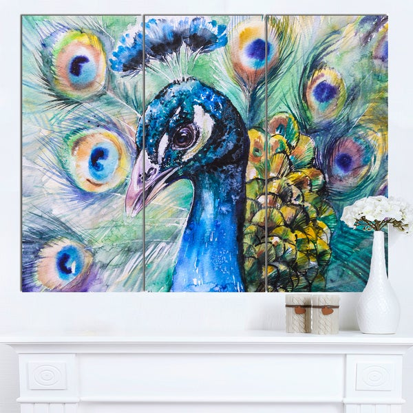 Designart 'Beautiful Peacock Watercolor' Animal Wall Art Print
