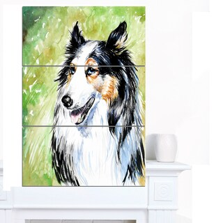 Designart 'Black Collie Dog Watercolor' Animal Artwork on Canvas