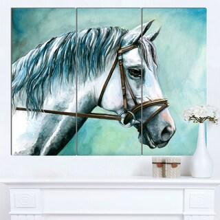 Designart 'Gray Horse on Blue Background' Animal Artwork on Canvas