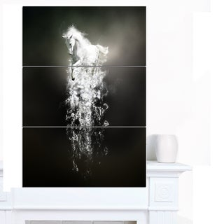 Designart 'Fantasy White Horse Running' Large Animal Art on Canvas