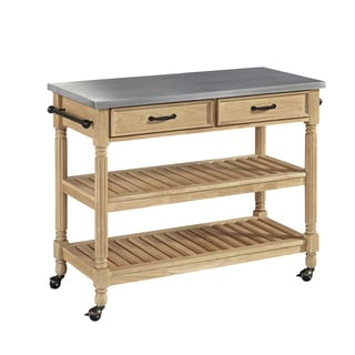 Home Styles Savannah Natural Kitchen Cart with Stainless Steel Top