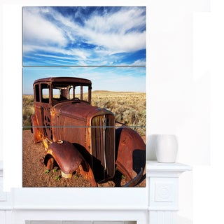 Designart 'Vintage Car under Bright Blue Sky' Canvas Artwork