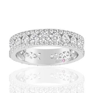 Suzy Levian Sterling Silver Cubic Zirconia White Three Row Modern Eternity Band|https://ak1.ostkcdn.com/images/products/13527364/P20207944.jpg?impolicy=medium