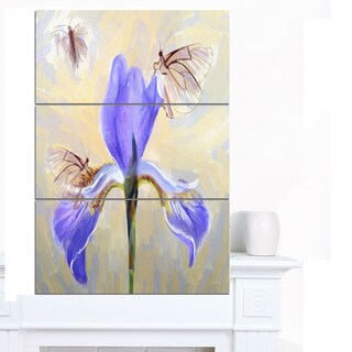 Designart 'Blue Flower with Butterflies Sketch' Extra Large Floral Canvas Art
